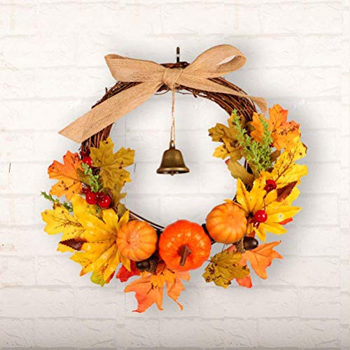 JoyTplay herfstkrans, halloween, krans, deurkrans, Halloween, Thanksgiving, herfstkrans, bel, ahorn, pompoen, deur, raam, Kerstmis, decoratie, rotan ring hangen