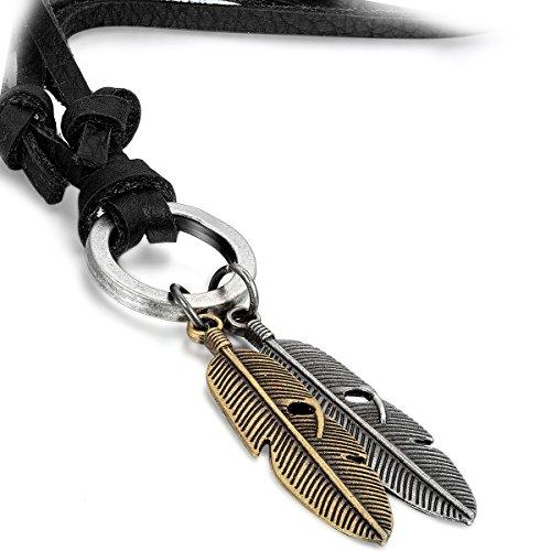 Flongo Joyería Colgante Collar Ajustable Adorno de Cuero 2 Plumas de Ángel Dorado y Plateado Retro Vintage Tribal Los Indios Collar para Hombre Mujer