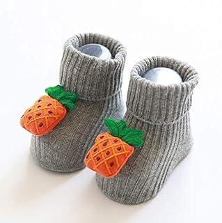 YEWZ_6 Piso Antideslizantes de Dibujos Animados de Frutas tridimensionales de otoño e Invierno Calcetines de bebé de 0-1 años—Piña, Color, One Size Unisex-Baby
