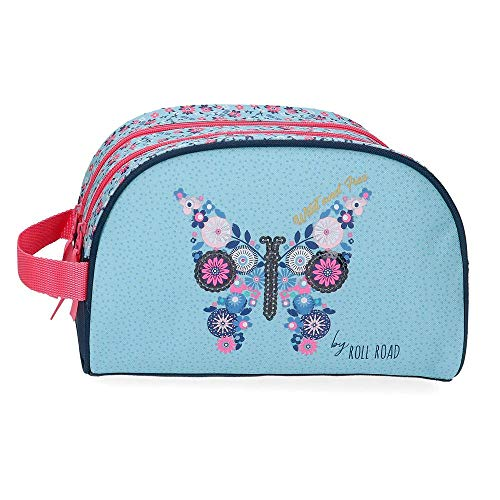 ROLL ROAD Neceser Adaptable a Trolley Wild and Free, Azul, 26x16x11 cms