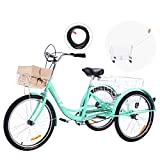 Viribus Adult Three Wheel Tricycle Single Speed Hybrid Cargo Cruiser Trike Bike with Removable Wheeled Basket Bell for Shopping or Dogs Dustproof Bag Exercise Bicycle (Light Green/24)