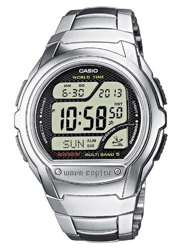 Casio WAVE CEPTOR Reloj Radiocontrolado, Caja de acero inoxidable y resina, Negro, para Hombre, con Correa de Acero inoxidable, WV-58DE-1AVEF