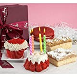 Dulcet Gift Baskets Collection of Happy Birthday Red Velvet Fresh Baked treats with Balloons and Candles Great Gift for Birthday Celebrations, fitting for women, Girls, Boys, Friends, Family, Kids, Him or Her