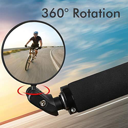 Yousir Espejo retrovisor ajustable para bicicleta, espejo retrovisor convexo, plegable, para bicicletas de carretera, bicicletas de montaña, motocicletas