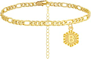 Gold Initial Anklet Bracelet for Women, Dainty Figaro Chain Anklet A-Z Letter Alphabet Anklet Cute Ankle Bracelet for Teen Girls Beach Foot Jewelry
