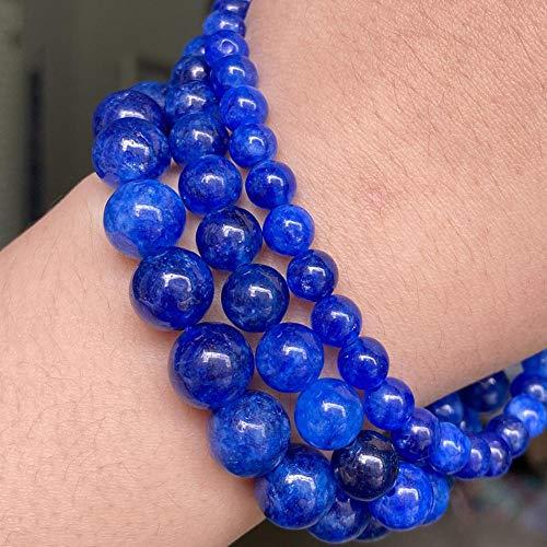 YUXIwang Pulsera de cianita natural azul jade piedra redonda espaciador suelto para hacer joyas, pulsera de bricolaje y accesorios de collar 6 8 10 mm (diámetro del artículo: 6 mm sobre 61 piezas)
