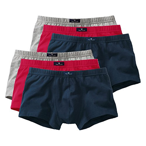 TOM TAILOR Herren Hip Pants Hüftshorts 6er Pack - Melange-red-Navy (9314) - M
