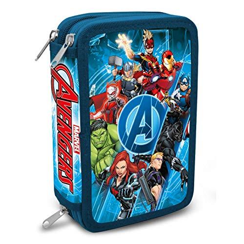Astuccio 3 Cerniere Astuccio a 3 livelli Avengers Astuccio da scuola Marvel Bambino 20 cm, Astuccio 43 pezzi, Colore blu