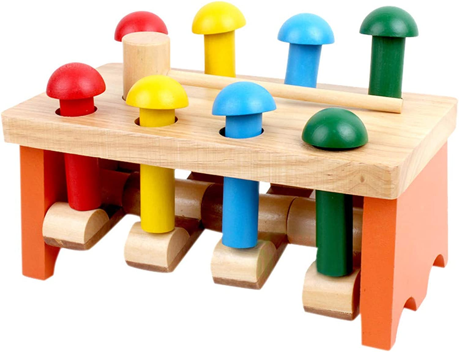 Pounding Bench Toys, Sacow Multicolor Wooden Hammering Game with Hammer Kids Baby Educational Toys (C)