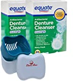 Denture Cleanser Equate Tablets OVERNIGHT 168 Bundle with Dentu-Care Denture Retainer Cleaning Cup Case Bath With Basket Lid for Maintaining Good Oral Care for Full/Partial Dentures