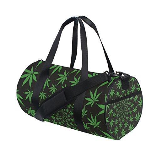Ahomy Green Marihuana Leaf Gym - Bolsa de Lona Ligera para Equipaje de Viaje, diseño de Hojas de Marihuana