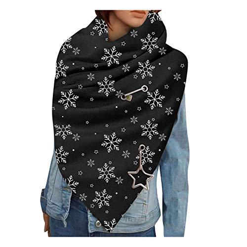 Orgrul Bufanda de invierno para mujer, con botones, diseño de gato, pañuelo y pañuelos, para mujer, de algodón, triangular, informal, suave, grande, 7F7, b, Talla única