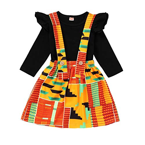YOUNGER TREE Baby's Dashiki African Print Fall Winter Outfit Kente Clothes Jacket Skirt Hoodie for Boy Girl (3-4 T, Black#Skirt-Long)