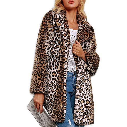 Hoofan - Abrigo de piel sintética para mujer con estampado de leopardo marrón XXXL