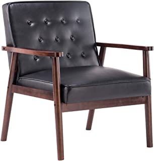 SSLine Retro Modern Accent Chair Mid-Century PU Leather Upholstered Lounge Arm Chair Single Sofa Seat Solid Wood Frame Leisure Reading Chair for Living Room Bedroom Reception Room Furniture