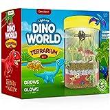 Dino World Terrarium Kit for Kids - LED Light in Lid - Dinosaur Toys for Boys & Girls Age 3, 4, 5, 6, 7, 8+ Year Old Boy and Girl Gifts - Dinosaur Garden + Toy Dinosaurs - STEM Science Gardening Kits