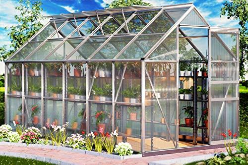 Aluminium Gewächshaus 11,73m³ Treibhaus Gartenhaus Frühbeet Pflanzenhaus Aufzucht 380x190cm ✔ Modellauswahl ✔verschiedene Größen ✔Fundament optiona...