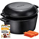 Overmont Dutch Oven 5 QT Cast Iron Casserole Pot + 1.6 QT Skillet Lid Pre Seasoned with Handle Covers for Camping Home Cooking BBQ Baking