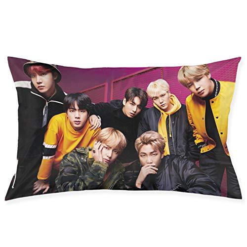 Bedais BTS Kpop Bangtan Boy S Love Yourself Pillow Throw Waist Pillow Case Cushion Cover Home Office Decorative Rectangle Pillowcases 20 X 30 Inches