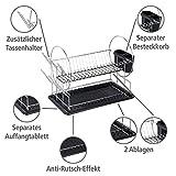 WENKO Geschirrabtropfer Premium Duo, Geschirr Abtropfständer für die Küche, Abtropfgestell mit Besteckkasten und Tellerständer, 52 x 36 x 24 cm, Silber/Schwarz - 2
