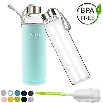 Voarge Botella de Agua Cristal 550ml, Botella de Agua Reutilizable ...
