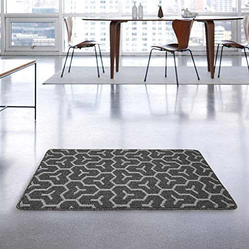 "MetaBall Felpudos Entrada casa, Antideslizante, súper Absorbente, tappeto esterno lavabile in lavatrice Doormat (24"" X 37"", Geometric Gray)"