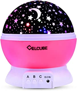 CELCUBE Night Light Lamp, Star Light Rotating Projector, Romantic Rotating Cosmos Star Sky Moon Projector for Children Bedroom Gift for Kids(Pink)