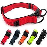 Beshine Collar reflectante de neopreno para mascotas con anillo de identificación separado y doble anillo en D, duradero ajustable y cómodo collar para perros medianos o grandes, color rojo