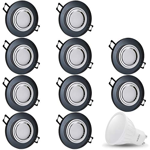 Spot LED encastrable en verre/miroir/rond cristal noir + 1 x 7 W blanc froid 230 V IP20 Plafonnier à LED encastrable Spot encastrable Couverture encastrable Spot à encastrer au plafond, Lot de 10