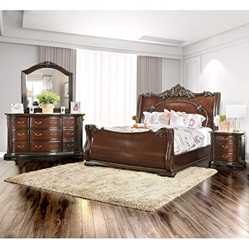 Furniture of America Luxury Brown Cherry 4-Piece Baroque Style Bedroom Set California King
