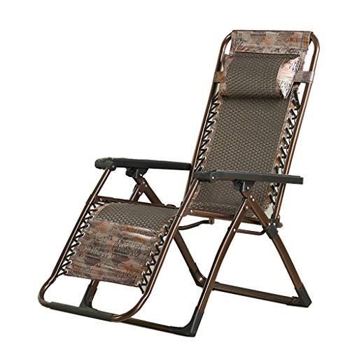 KHL Fauteuil Pliant à Trois chaises en rotin Fauteuil inclinable au Bureau Fauteuil de Repos pour Personnes âgées Fauteuil d'extérieur en rotin Chaise de Plage de Loisirs Grande Chaise Longue