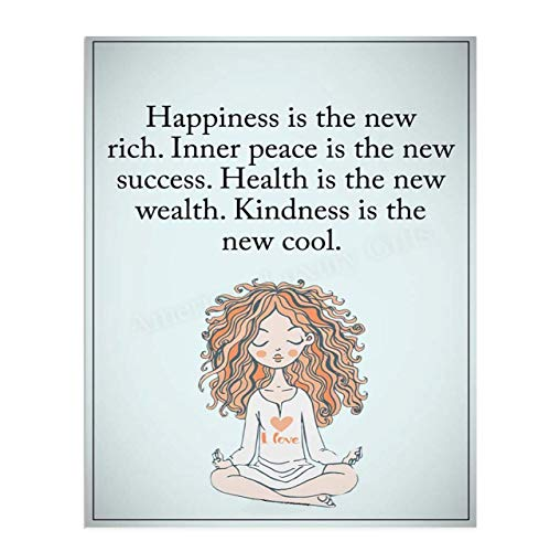 &Quot;Happiness Is The New Rich&Quot;- Inspirational Wall Art In Yoga Pose-8 X 10 Print Wall Print-Ready To Frame. Modern Chic Decor For Home- Office &Amp; Studio. Peace, Health &Amp; Kindness Is The New Cool-Success!