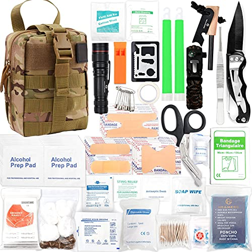 268 Pcs Survival Kit Emergency Survival Kit and First Aid Kit Professional Survival Gear, Molle System Compatible SOS Outdoor Survival Gear for Hunting, Hiking, Camping, Essential Gift for Men