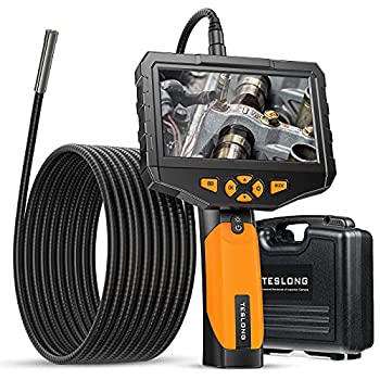 Teslong Inspection Camera with Monitor Handheld Industrial Endoscope with 4.5inch IPS Display 16.4ft Waterproof Gooseneck Borescope with 8 LED Lights 32G Memory Card Tool Case