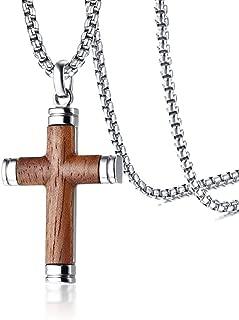 PJ Jewelry Mens Stainless Steel Hawaiian Koa Wood Cross Pendant Necklace for Christian Baptism,His Gift