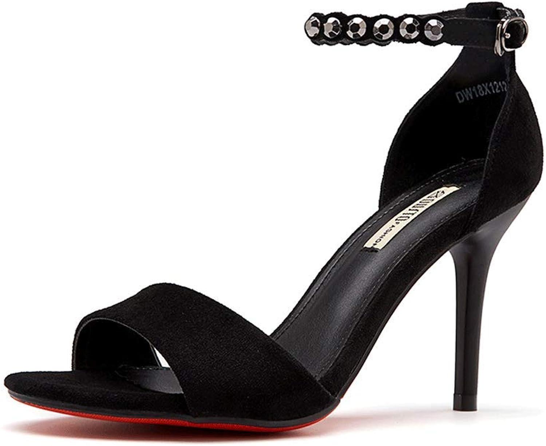 Round Head Sandals Ladies Suede Sexy Rhinestone High Heels (color   Black, Size   EU37 UK4.5-5 CN37)