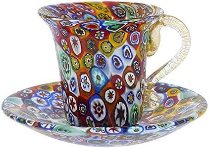 GlassOfVenice Vaso y platillo de cristal de Murano, multicolor
