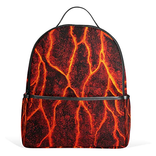 Volcanic Lava Surface Magma Texture School Backpack Canvas Rucksack Large Capacity Satchel Casual Travel Daypack for Kids Girls Boys Children Students, 3-9 Years Old