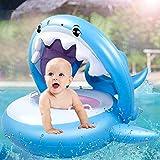 AugSep Baby Pool Float Schwimmkörper aufblasbar Hai Baby Floatie mit Baldachin für Säugling Kleinkind Kind (6-36 Monate) (Blau) AG-UK-A202112870