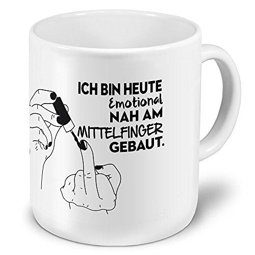 printplanet XXL Riesen-Tasse mit Spruch: Ich Bin Heute Emotional nah am Mittelfinger gebaut. - Kaffeebecher, Sprüchebecher Becher, Mug