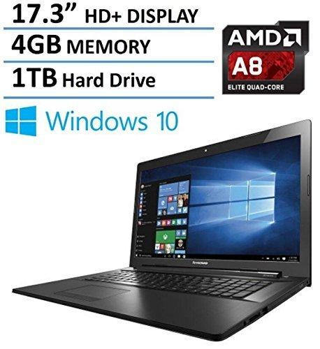 "2016 Lenovo G70 17.3"" Premium High Performance Laptop PC, 17.3 inch HD+ Display (1600 x 900), AMD Quad-Core A8 2.0GHz, 4GB Memory, 1TB HDD, DVD+/-RW, Webcam, HDMI, Bluetooth, Windows 10"