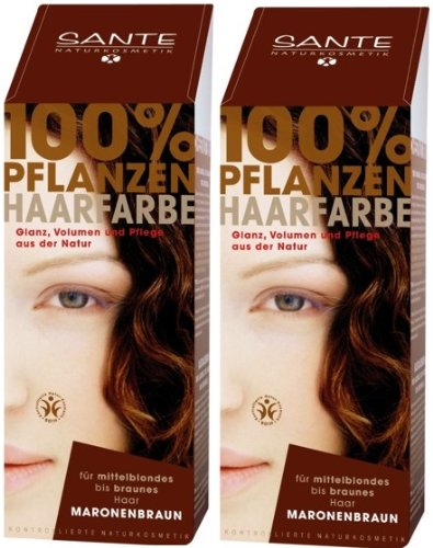 Sante BIO Haarfärbemittel maronenbraun 2 x 100 g Doppelpackung pflanzlich schonend Haare Tönung Haarfarbe glänzende strahlend sexy mild