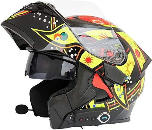 XWW Casco de Moto para Hombre Casco de Seguridad de Cara Completa con Doble Lente para Hombre Cascos abatibles Casco de Motocross para Adultos con Bluetooth FM, Aprobado por Dot