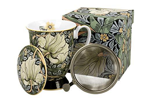 Duo William Morris Art Gallery - Taza de té (330 ml, con Filtro de Porcelana y Tapa de Porcelana, en Caja de Regalo)