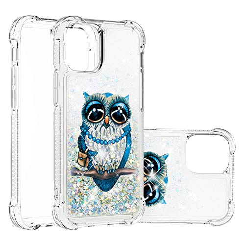 COTDINFOR Compatible with iPhone 12 Case Glitter Cute for Girls Women Liquid Floating Quicksand Shockproof Bumper Silicone Clear Case for iPhone 12 / iPhone 12 Pro 6.1 Inch Lady Owl YB