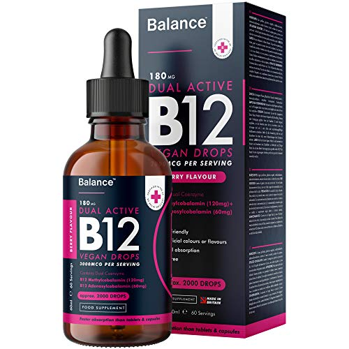 Balance Vitamin B12 Liquid Drops - High Strength 3000mcg - 60ml Dropper Bottle - Vegan Friendly - Sublingual and Dual Action for Fast Absorption - Gluten Free - Made in The UK
