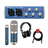 PreSonus AudioBox 96 USB 2.0 Audio Recording Interface with MXL 550/551R Microphone Ensemble (Blue), Polsen HPC-A30 Studio Monitor Headphones & XLR Cable Bundle