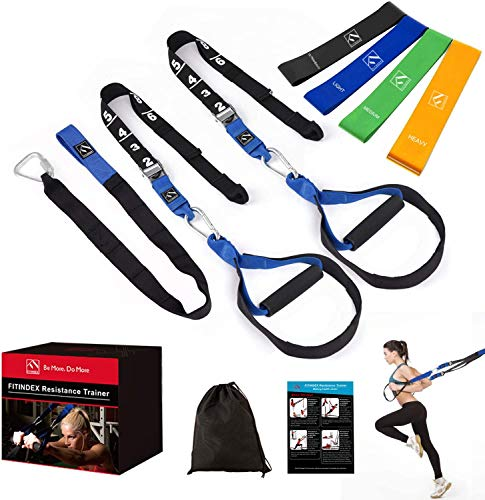 FITINDEX Bodyweight Resistance Trainer Kit, Home Suspension Training Straps, Fitness Resistance Trainer with Resistance Loop Bands, Full Body Workout for Indoor or Outdoor Gym