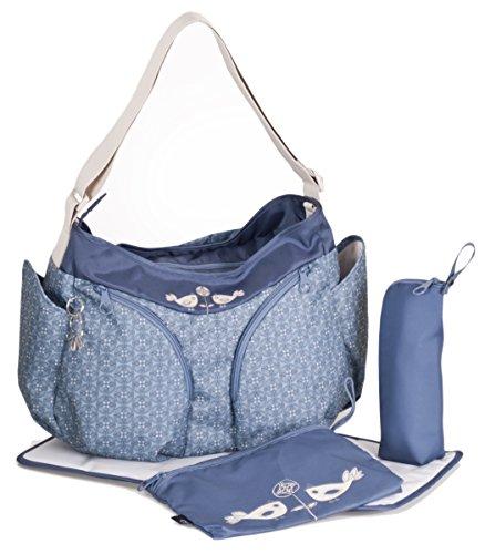 okiedog MONDO 38002 leichte geräumige Wickeltasche mit Schultergurt, viele Fächer, inkl. CLIPIX Kinderwagenhaken, Wickelunterlage, isolierter Flaschenhalter und Zubehörbeutel, TweetTweet blau, ca. 49 x 32 x 19 cm