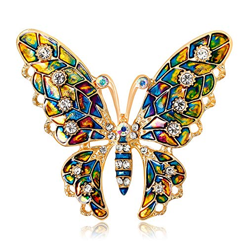 YONGHUI Colorful Butterfly Brooch Pins Elegant Rhinestone Insect Brooches Women Corsage Scarf Shawl Clothing Accessories